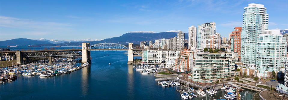 Vancouver city skyline Burrard Bridge